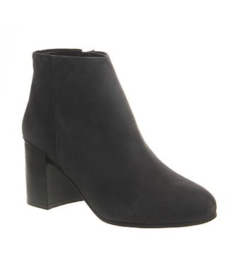 Office Illustrate Cup Heel Boot Black Nubuck - Ankle Boots