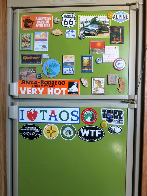 Turn your RV refrigerator into a place to display magnets! (Don't worry, it doesn't have to be green)