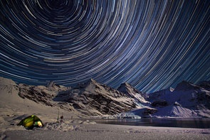 Star Trails over the Harker Galcier by Samantha Crimmin