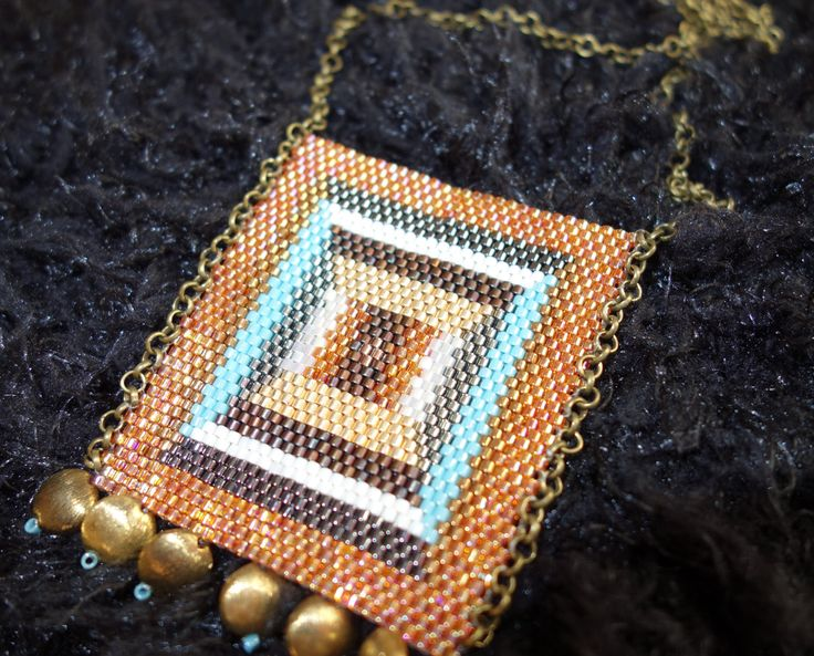 Tangerine bronze Seed Bead Necklace, Long Vintage-style Brass Metal Chain,Beadwoven necklace, Made in Greece,Statement jewelry,Gifts for her by SouSouHandmadeArt on Etsy