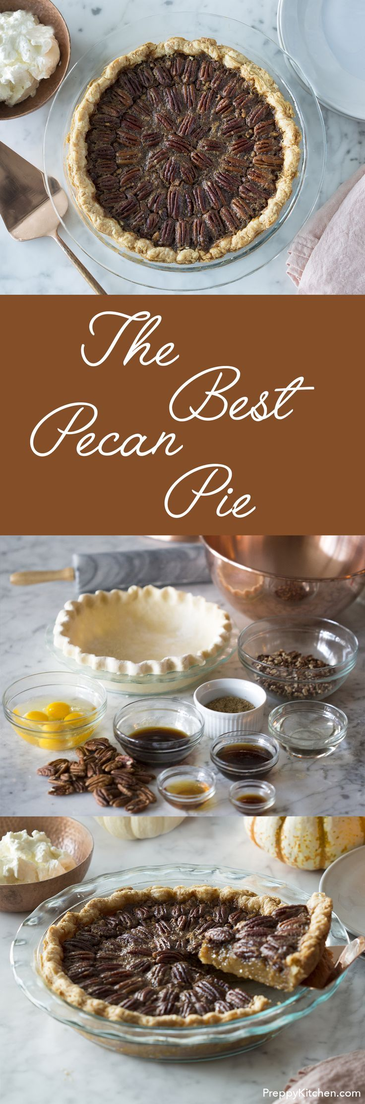 A flakey butter crust, pecans, maple syrup, honey, brown sugar and bourbon combine to make what I consider the perfect pecan pie. via /preppykitchen/