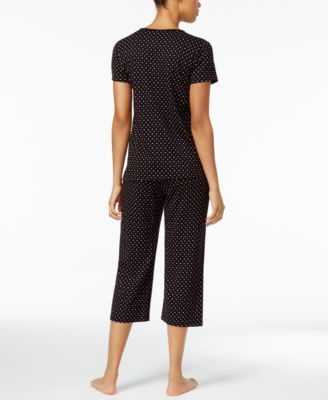 Charter Club Cropped Petite Pajama Set, Only at Macy's - Black M