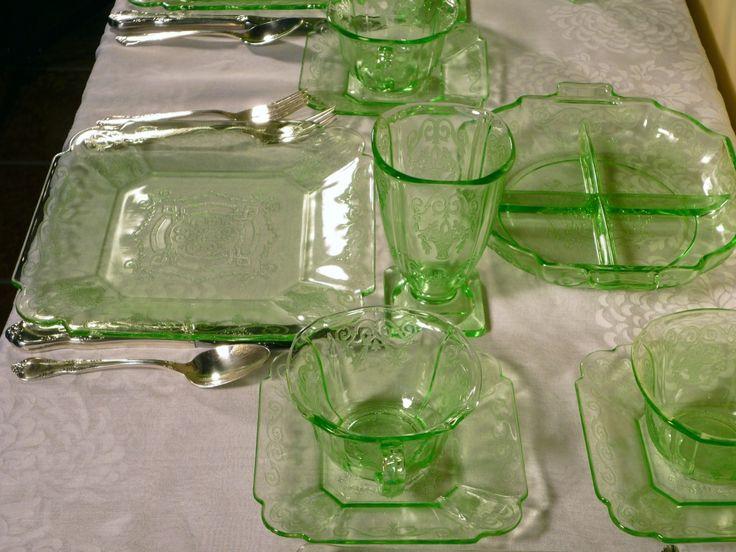 depression glassware   ... Tisket A Tasket Green Baskets and Flowers – Lorain Depression Glass