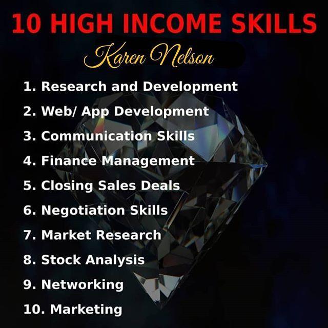 10 high income skills. #LI #fb #skills #highincomeskills #billionaire #millionaire | Higher income, Negotiation skills, Skills