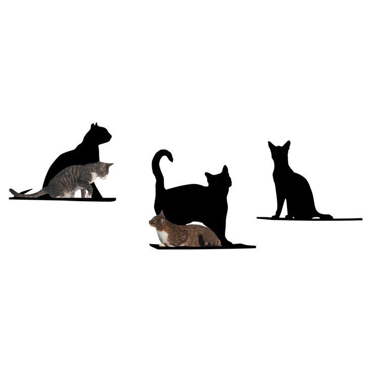 Refined Feline Cat Silhouette Cat Shelf - Set of 3 - SILO-SET-BK