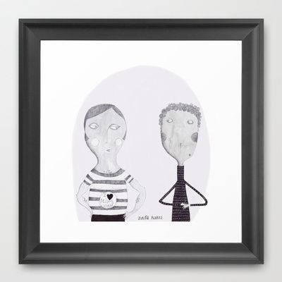 Friends and Lovers Framed Art Print by Zuriñe Aguirre Illustration - $37.00