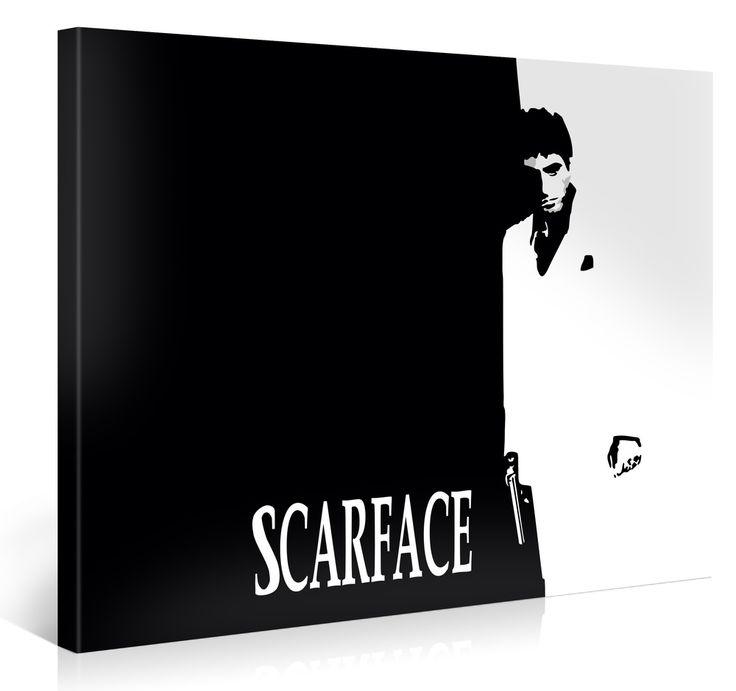 De filmcover van de film Scarface als wanddecoratie op een prachtige canvas.