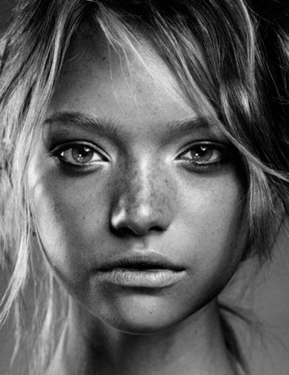 Gemma Ward. I'm obsessed with alien girls who look exactly opposite to how I look.