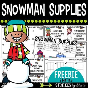 This addition shopping freebie is aligned to 2.NBT.B.6 (Add up to four two-digit numbers using strategies based on place value and properties of operations).In this pack you will find a Snowman Supplies store poster.  There are 8 task cards with items to be purchased, two types of recording sheets, and an answer key.If you like this shopping freebie, be sure to check out this Addition Shopping Problems pack: Addition Shopping Problems (2.NBT.B6)Stay Connected with Stories by Storie  Blog…