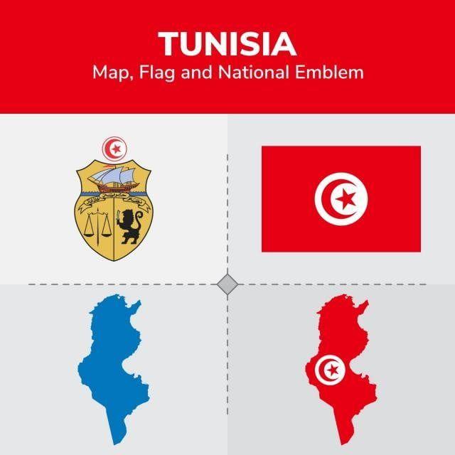 خريطة تونس العلم و الشعار الوطني Tunisia Map Map Flag