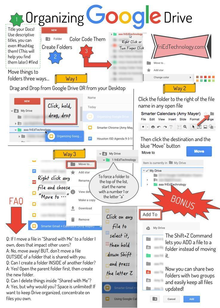 Figuring out how to keep Google Drive organized seems to baffle many users. Here's a handy infographic to remind you of some tips and techni…