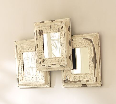 Love the look of these mirrors.: Vintage Mirror, Mirror Set, Rustic Mirror, Frames Mirror, Frames Arrangements, Frames Collage, Pictures Frames, Barns Noell, Pottery Barns