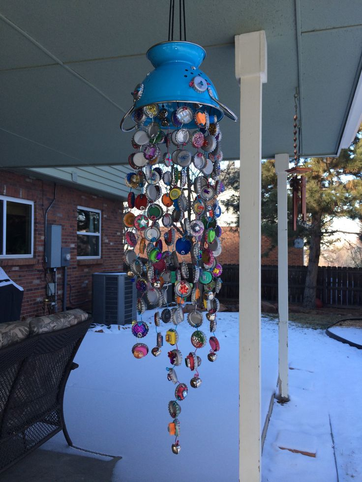 Completed bottle cap wind chime it 39 s a done deal for Bottle cap wind chime