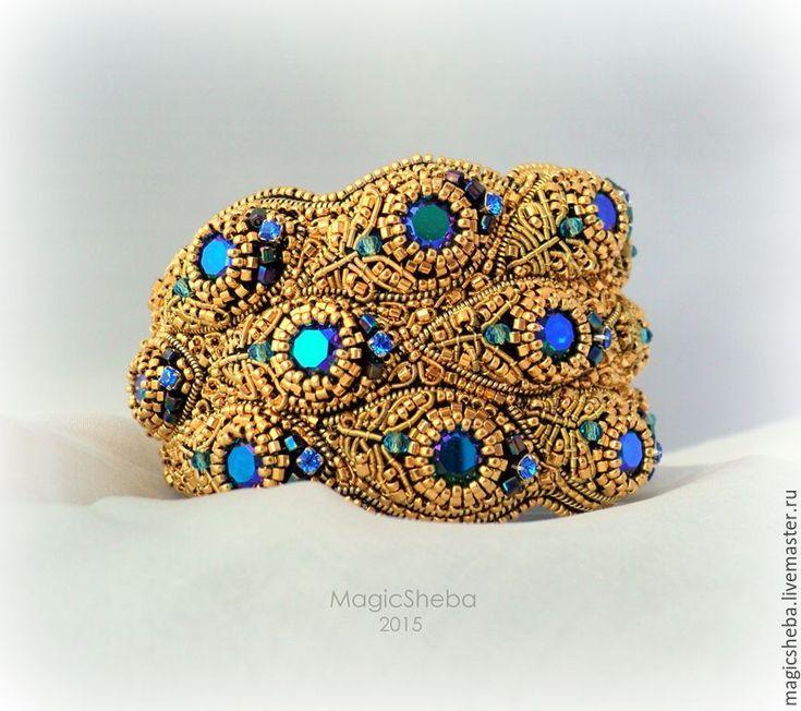 Купить Браслет золотой, вышитый золотом Павлин - золотой, золотой браслет, вышитый браслет, браслет