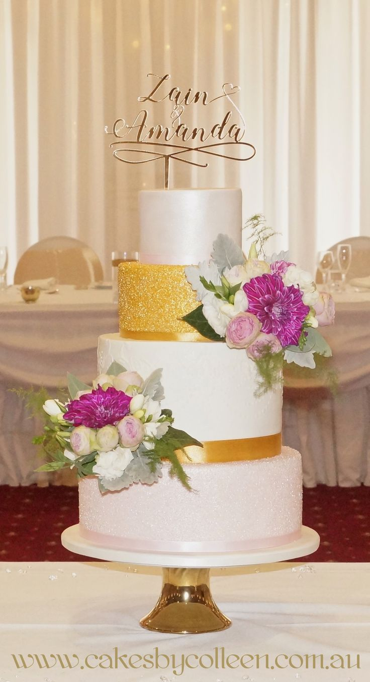 Zain & Amanda's 4 Tier Wedding Cake with floral detail & customised topper.