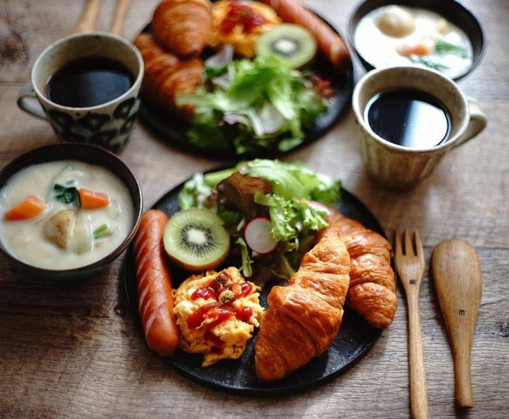 コストコクロワッサンでお手軽ワンプレートの朝ご飯