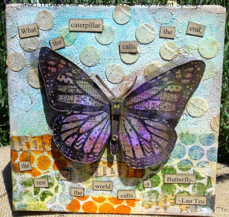 Shari Trumbull for Our Creative Corner with a mixed media canvas using Tim Holtz, Wendy Vecchi, Ranger and Darkroom Door products; Aug 2014