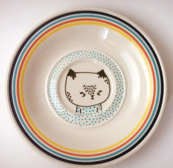 small hand painted plate cat plate by prettylittlethieves on Etsy