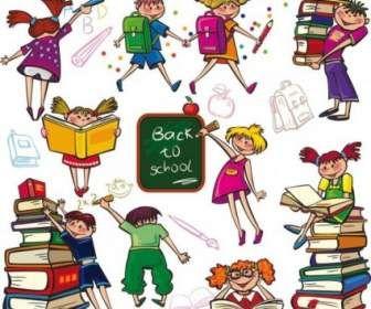 simpatico cartone animato colorato ragazzi e ragazze immagine vettoriale