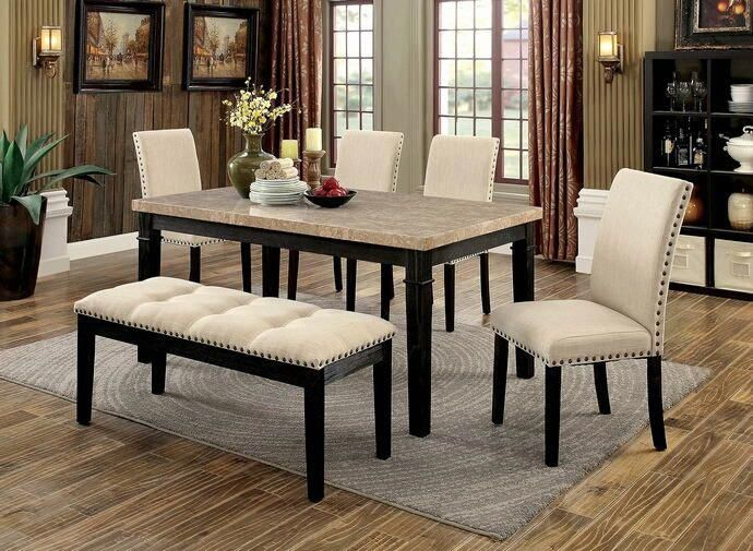 Cm3466t 6pc 6 Pc Dodson I Black Finish Wood Faux Marble Top Dining