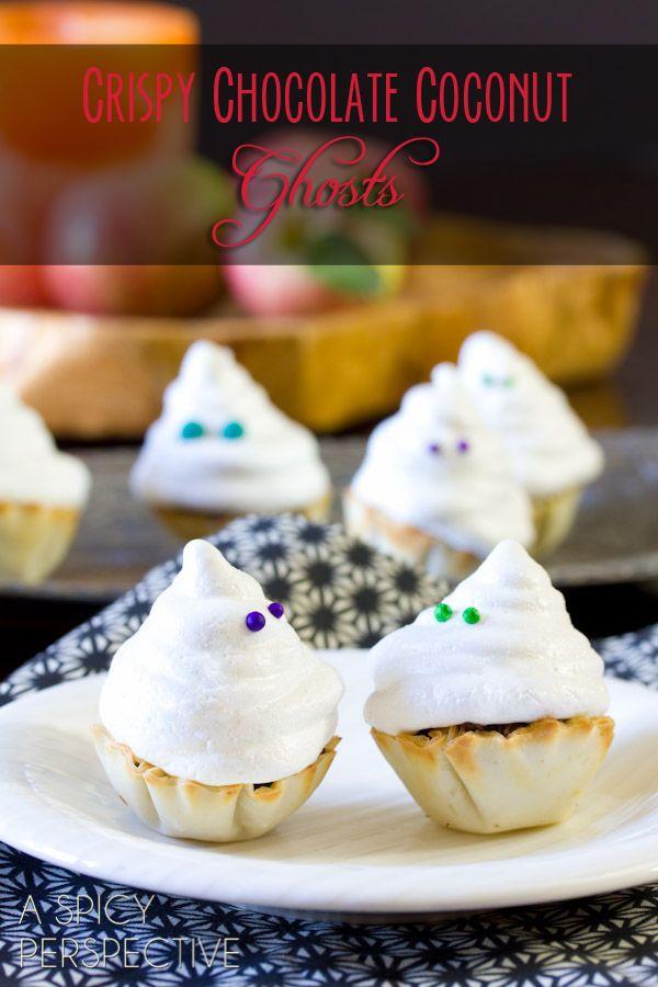 Cute idea!! Crispy Chocolate Coconut Ghosts