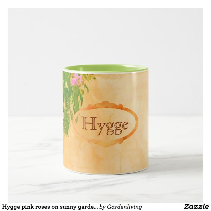 Hygge pink roses on sunny garden wall Two-Tone coffee mug