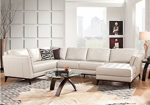 Shop for a cindy crawford home thousand oaks pearl 6 pc leather sectional living room at rooms for Rooms to go cindy crawford living room