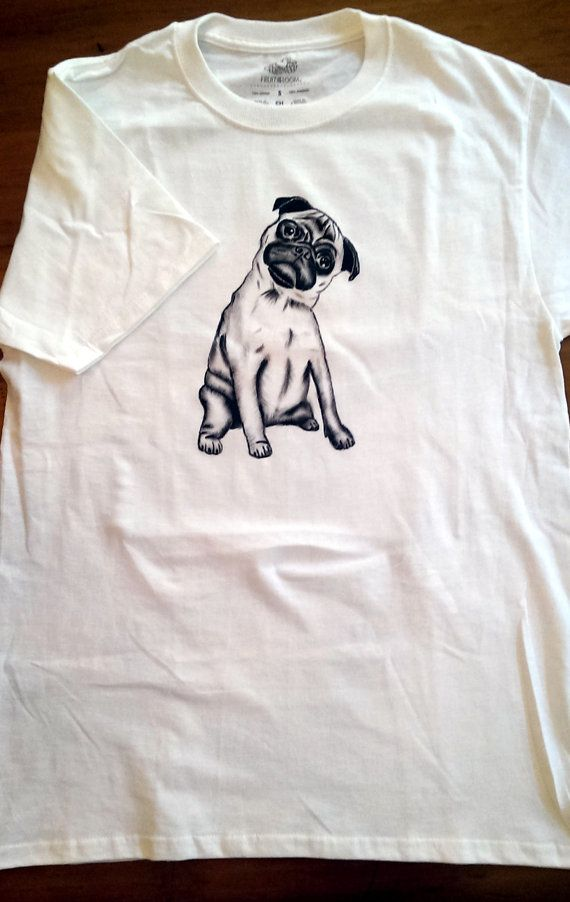 pug shirt funny dog shirt animal shirt pug unisex hand