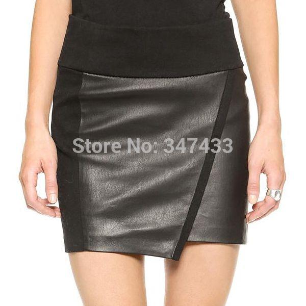 Faldas de invierno para mujer de piel sintética negro del resorte del otoño más mujeres del tamaño falda lápiz corto ocasional de la falda de la falda femenina oficina WL013(China (Mainland))