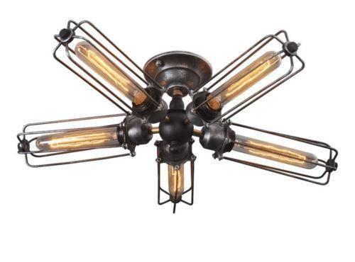 5 Bulb Industrial Ceiling Light on Chairish.com