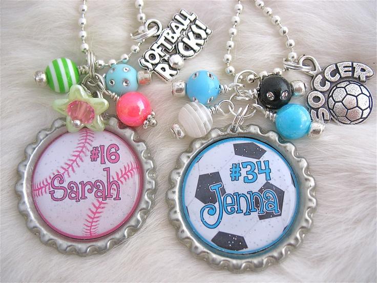 SOFTBALL SOCCER NECKLACE custom sports Necklace Keychain Pendant, Sports Mom, Girls, Gift Present, Kids sports, Team, Baseball Charm. $18.50, via Etsy.