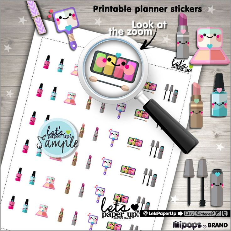 Makeup Stickers, Printable Planner Stickers, Cosmetic Stickers, Kawaii Stickers, Fashion Stickers, Planner Accessories, Make Up Stickers
