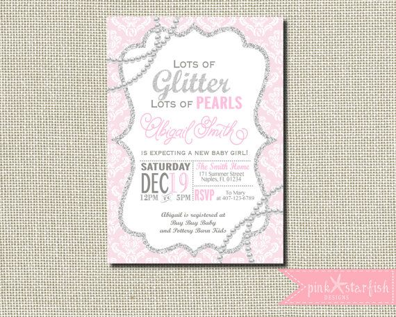 Baby Shower Invitation Glitter and Pearl by PinkStarfishDesigns