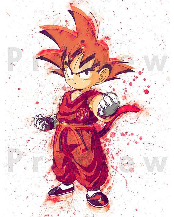 Watercolor Painting Dragon Ball Z Kid Goku. by RightClickSaveAs