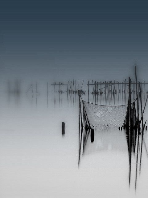 ♂ Old fishing net, reflection, stillness, silence nature