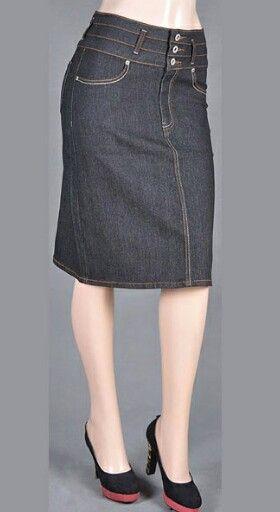 47 best Knee Length Denim Skirts images on Pinterest | Denim ...