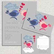 Printable Personalised Love Birds Wedding Invitation & RSVP & Save the Date