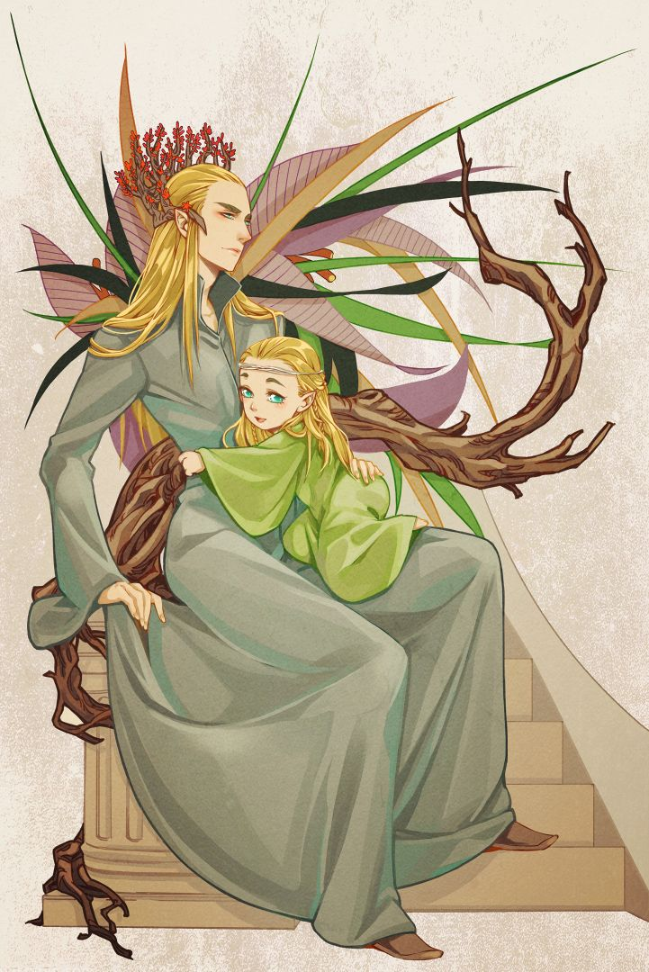 Thranduil and little Legolas / father and son3 by levineh.deviantart.com