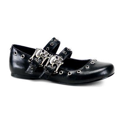 Daisy-03 zwart mat- gothic, metal ballerina platte schoen met bandjes