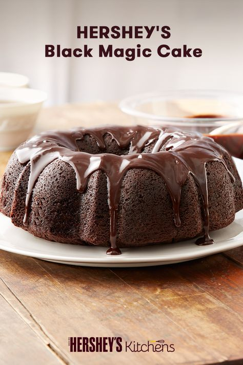 This Hershey's Black Magic Cake is crafted to spooky perfection. This easy dessert combines HERSHEY'S Cocoa and coffee to create a taste your guests won't forget. Bake this for your next birthday or Halloween party and watch it magically disappear!
