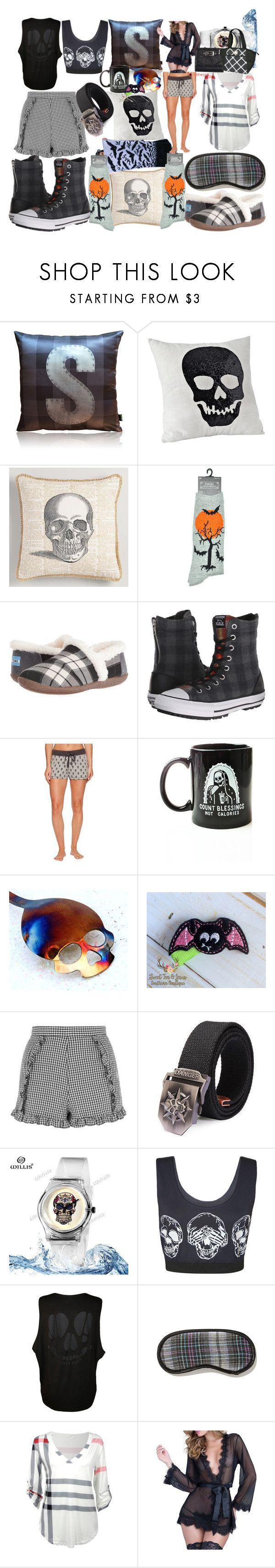 """Skull all day"" by lerp ❤ liked on Polyvore featuring Cost Plus World Market, TOMS, Converse, P.J. Salvage, Pyknic, Topshop, WearAll, Oh La La Cheri and Igloo"