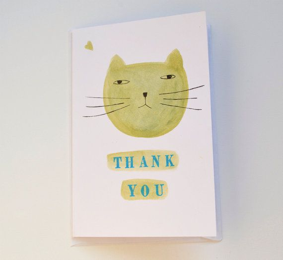 thank you greetings card with snout of cat / Hand Drawn Card / lime yellow cat illustration / original graphic cat / small greetings card