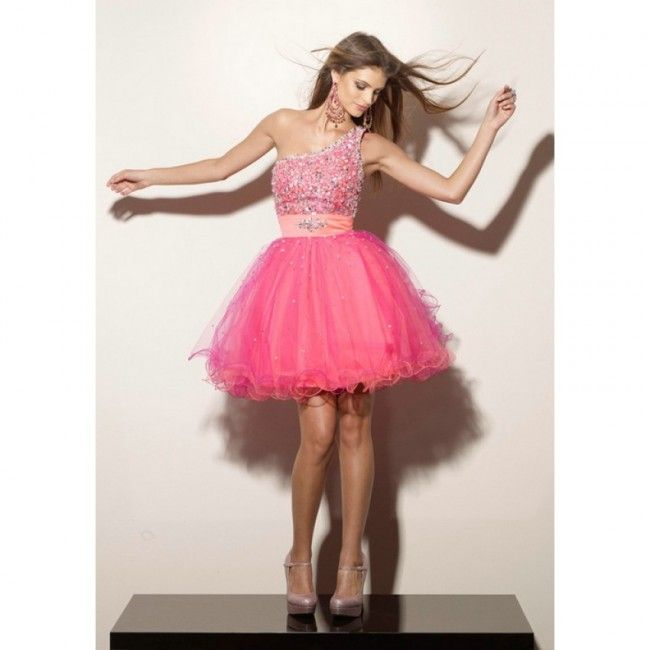 Wonderful Organza Ball Gown One Shoulder Summer Sleeveless Crystal Detailing Empire Pink Special Occasion Dresses