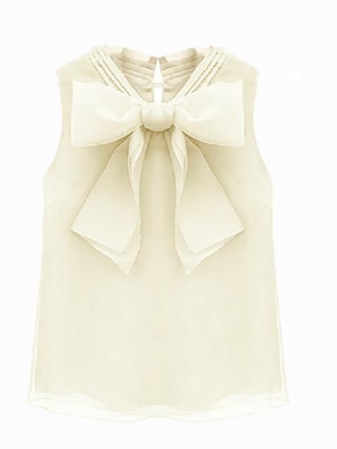 Beige Sleeveless Shirt With Bow | Choies