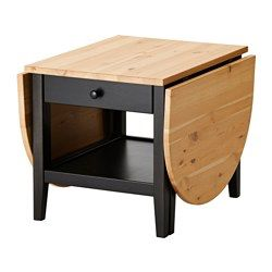 Solid wood is a durable natural material. A coffee table with drop leaves is easy to make larger or smaller according to your different needs. Pull-out stop ensures that the drawer cannot be pulled out too far accidently. Practical storage space underneath the table top. Separate shelf for magazines, etc. helps you keep your things organized and the table top clear.