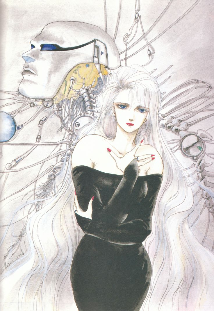 "Illustration from the ""Voice of the Stars, Dreams of the Moon"" artbook by manga artist Mutsumi Inomata"