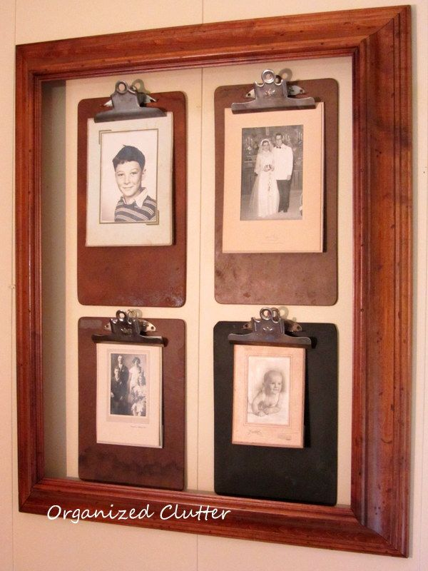 DIY:: A Beautiful Rustic Framed Clipboard Photo Wall For $12 !