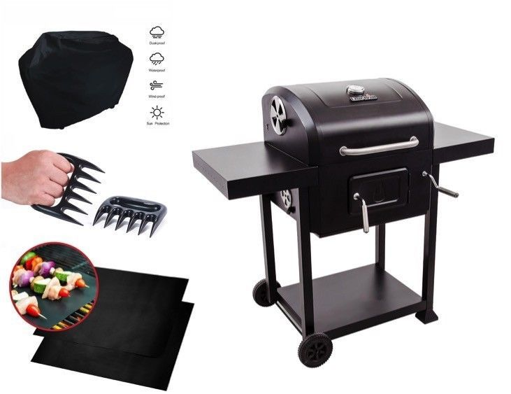 Steel Charcoal Grill Outdoor Patio Backyard Cooking Mat Cover Claws BBQ Set SALE