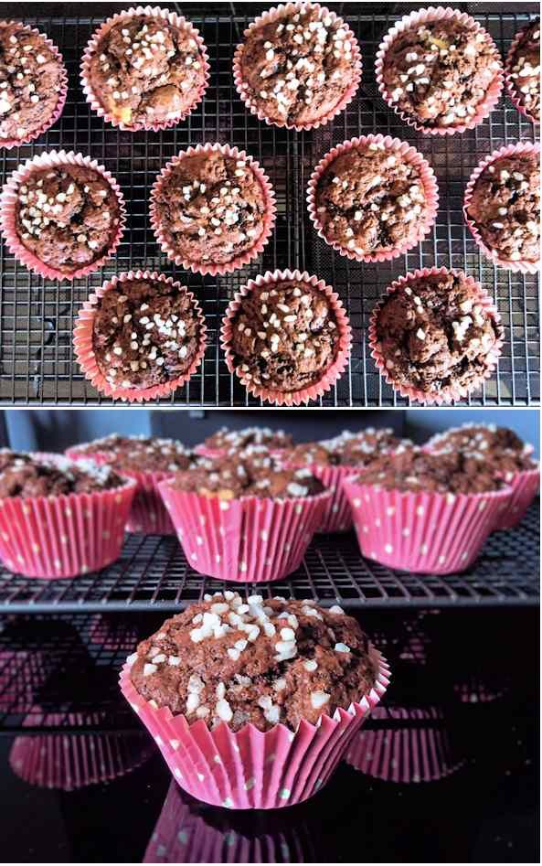 Double chocolate muffins, wonderfully gooey in the centre and a doddle to make.