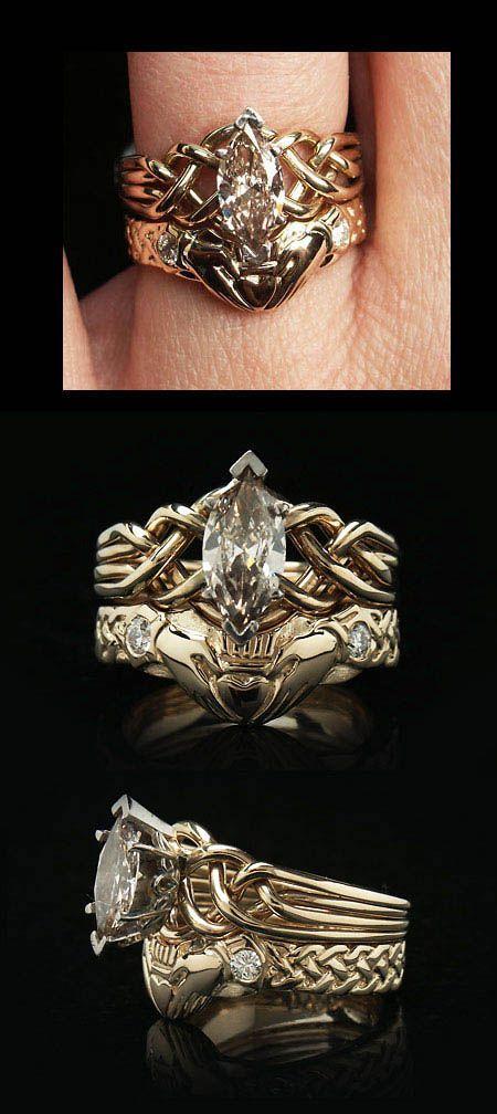 Celtic Wedding Set: Marquise Diamond Puzzle & Diamond Claddagh Bridal Set